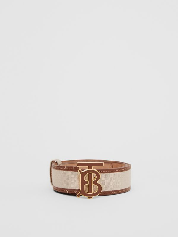 Monogram Motif Canvas and Leather Belt in Natural - Women | Burberry United Kingdom - cell image 2