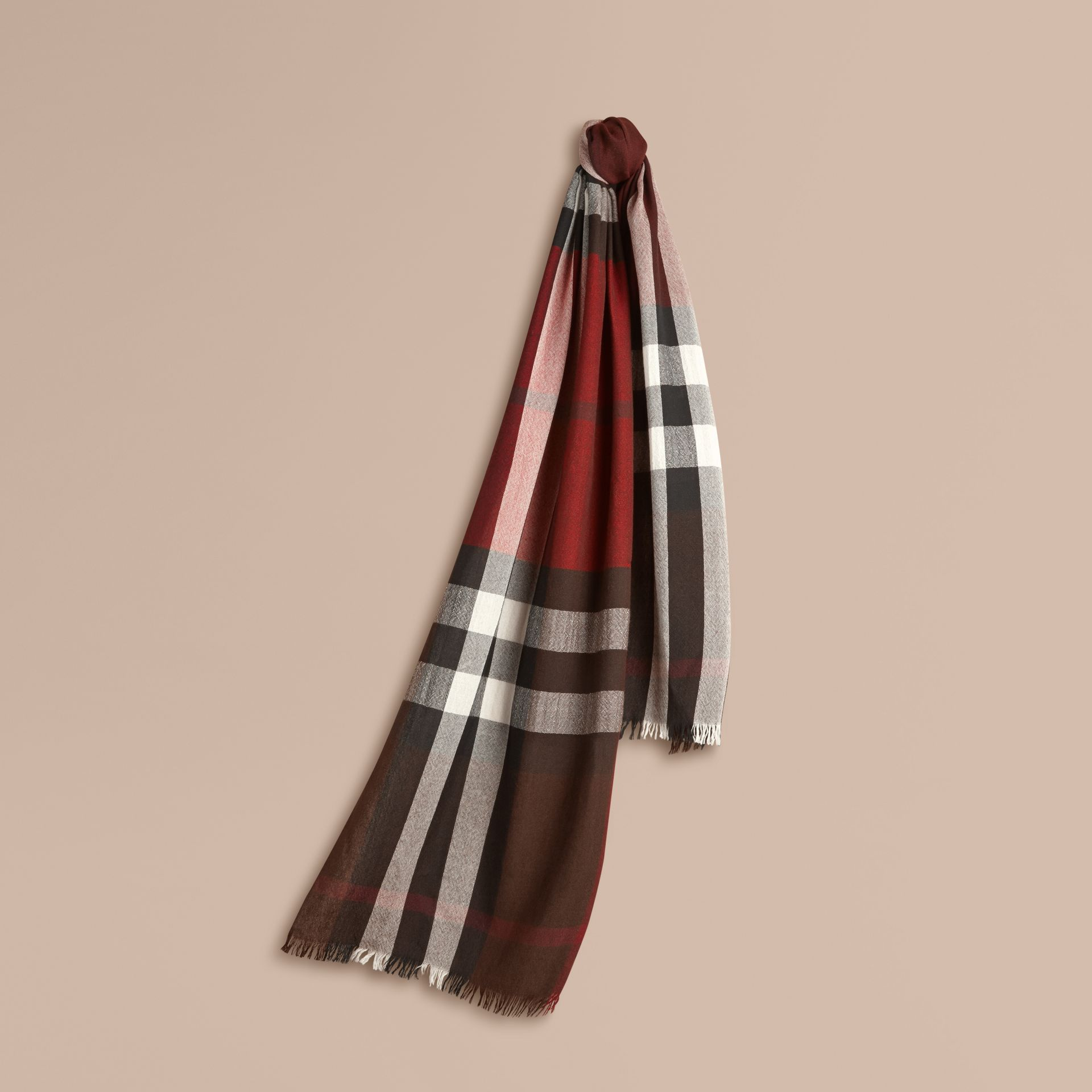 Claret Lightweight Check Wool Cashmere Scarf Claret - gallery image 1