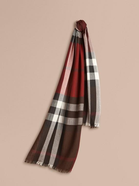 Lightweight Check Wool Cashmere Scarf Claret
