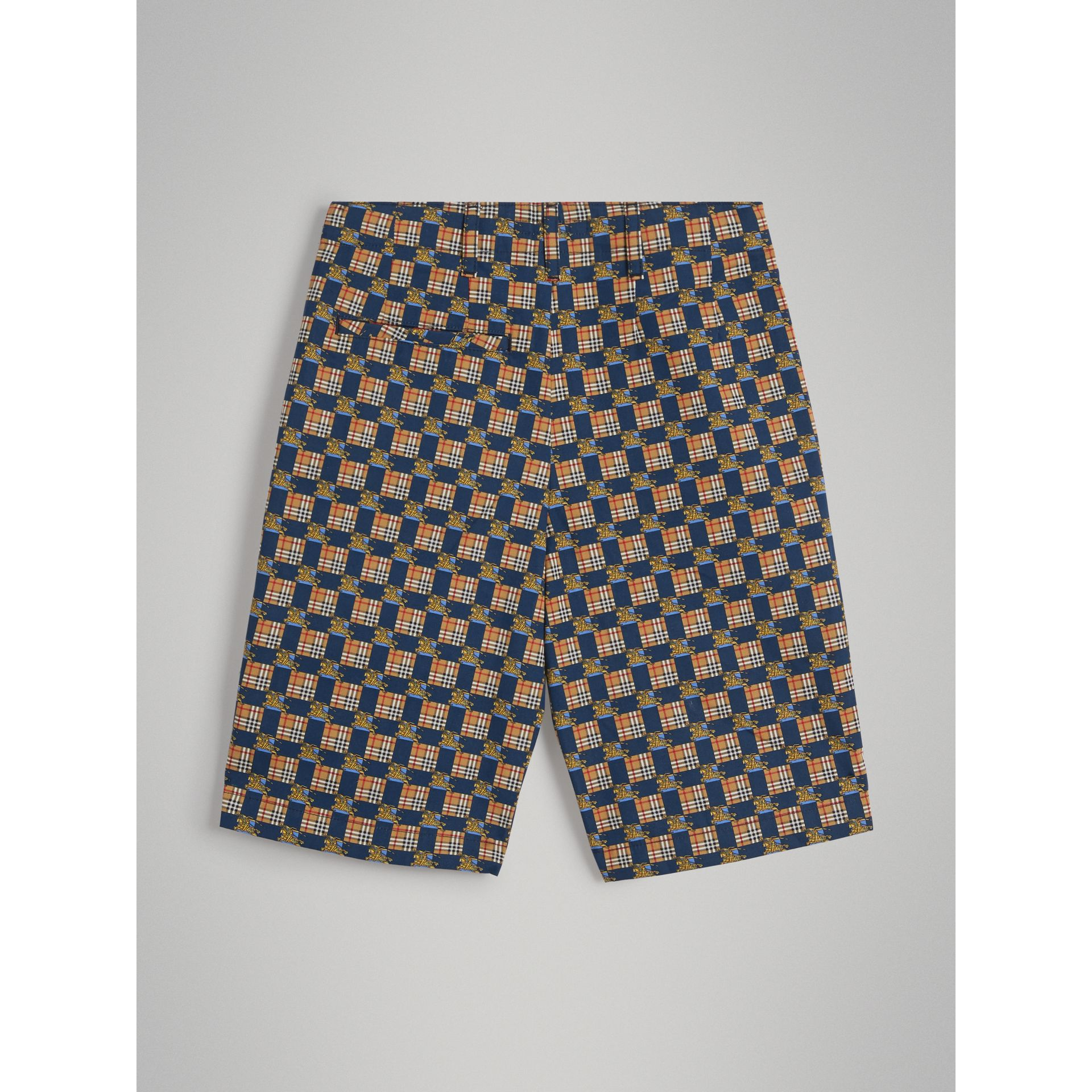 Tiled Archive Print Cotton Shorts in Navy | Burberry - gallery image 3