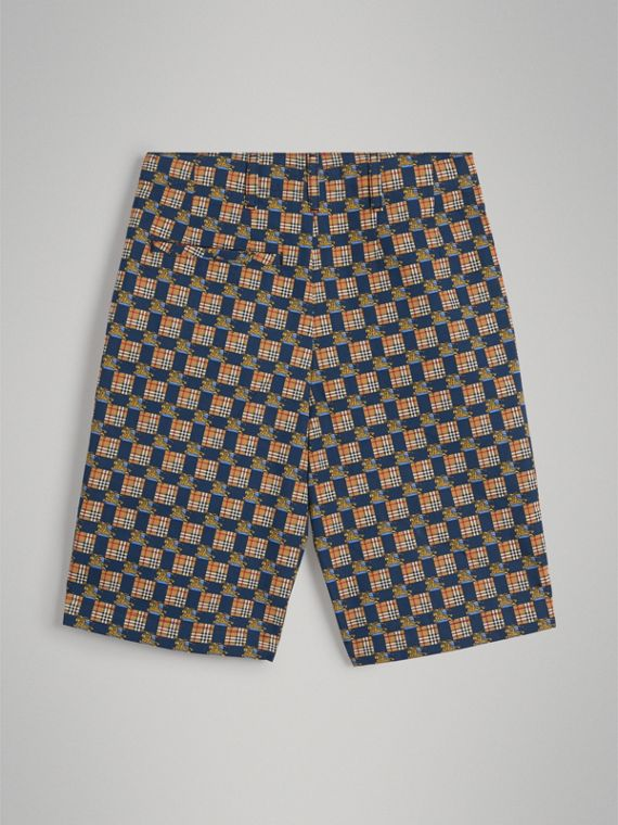 Tiled Archive Print Cotton Shorts in Navy - Boy | Burberry Hong Kong - cell image 3