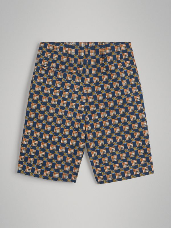 Tiled Archive Print Cotton Shorts in Navy | Burberry - cell image 3