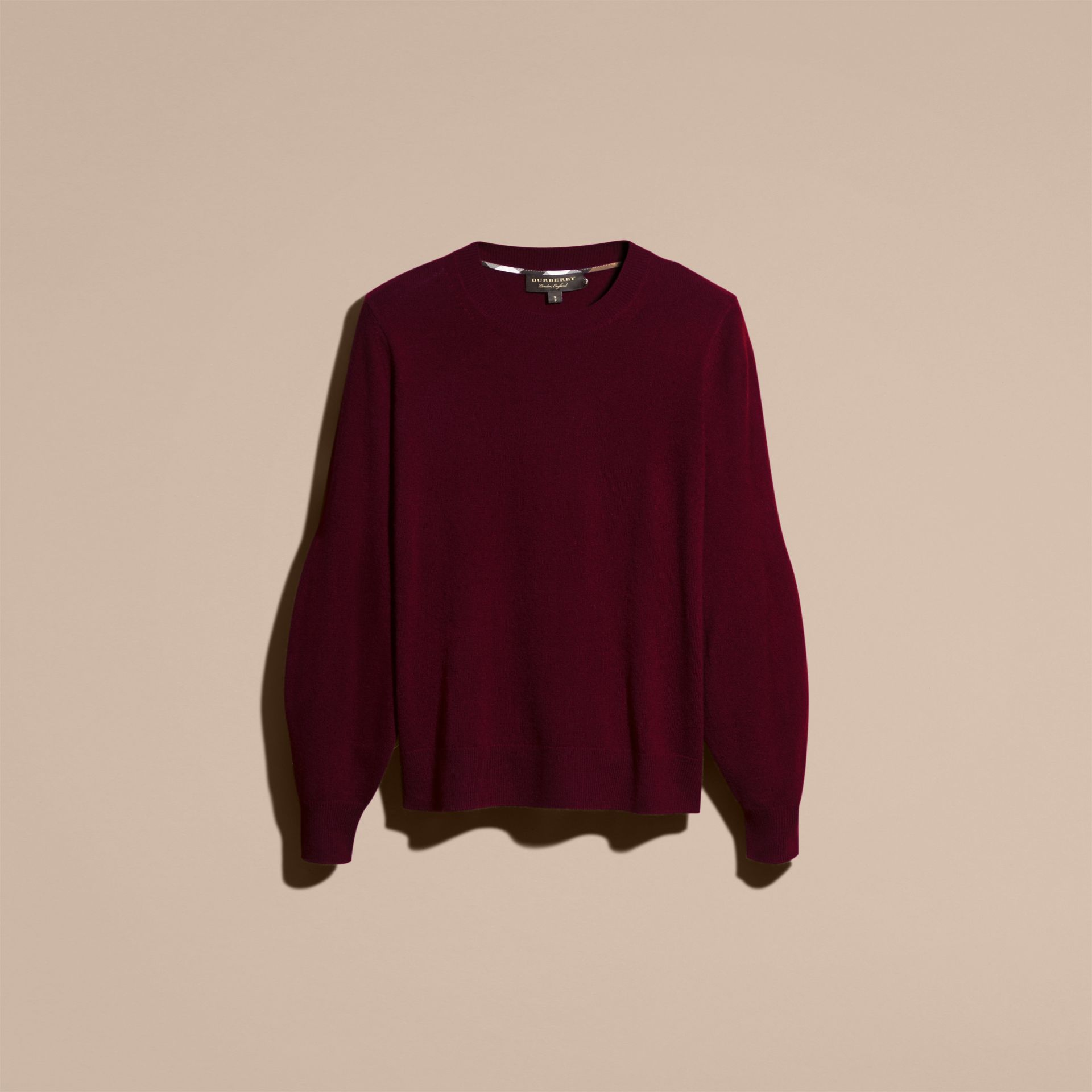 Puff-sleeved Cashmere Sweater in Burgundy - gallery image 4