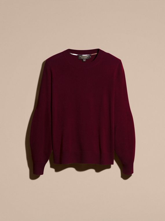 Puff-sleeved Cashmere Sweater in Burgundy - cell image 3