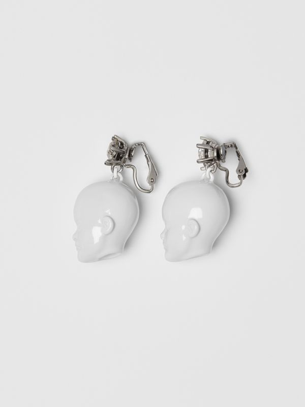 Crystal and Doll's Head Palladium-plated Earrings in White/palladium - Women | Burberry Canada - cell image 3
