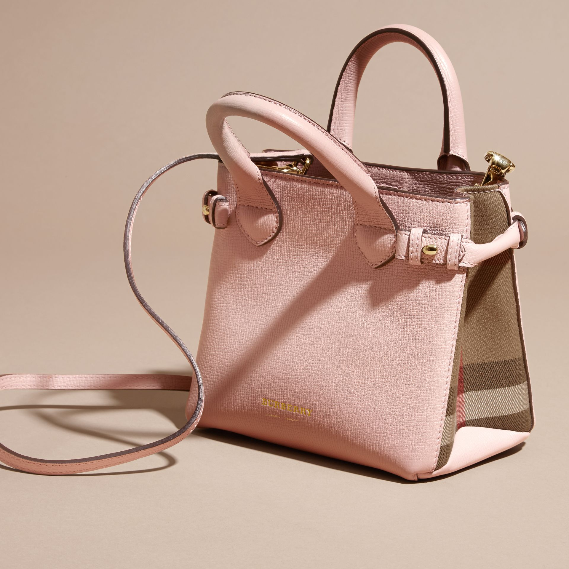 The Baby Banner in Leather and House Check in Pale Orchid - Women | Burberry - gallery image 7