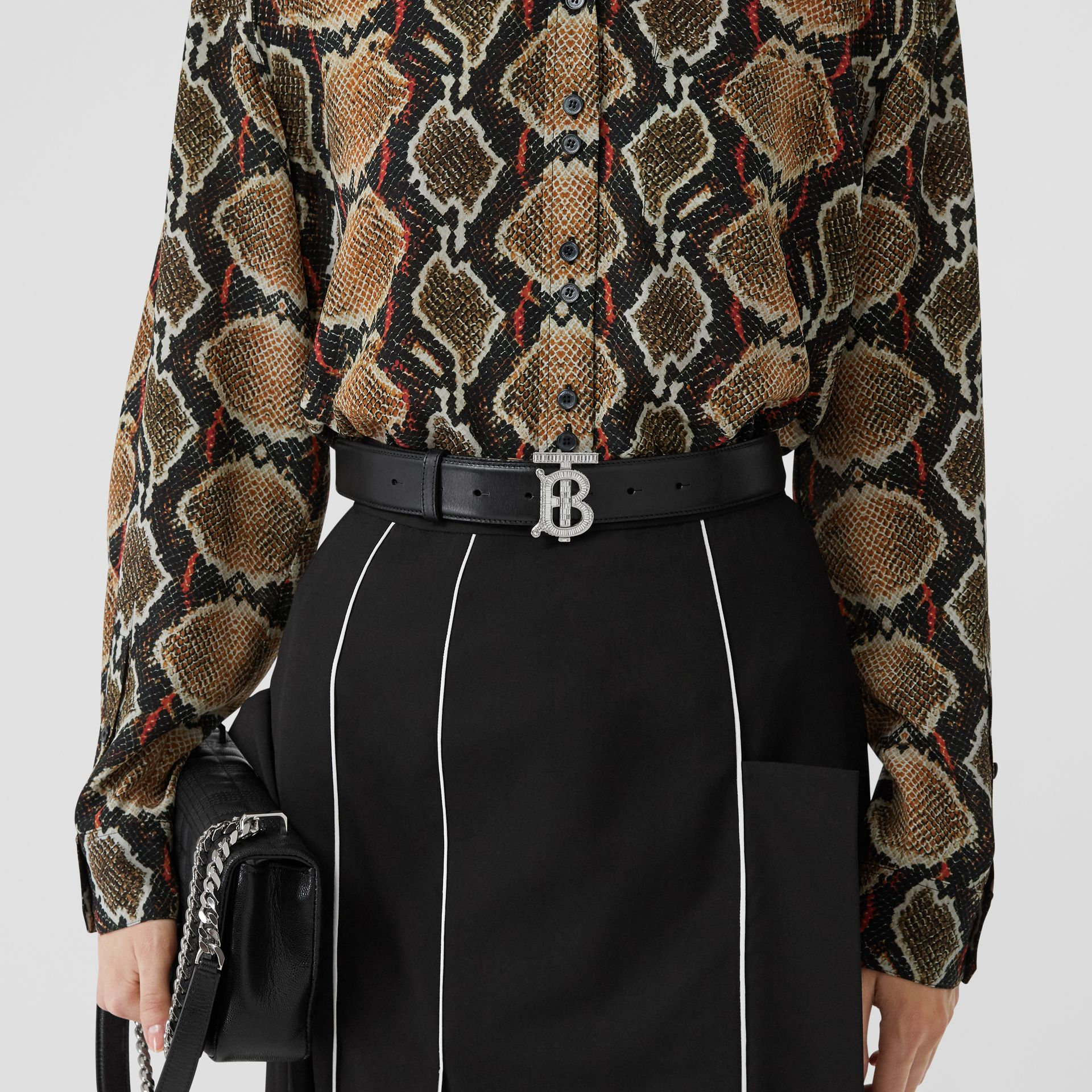 Crystal Monogram Motif Leather Belt in Black/palladium - Women | Burberry United States - gallery image 2