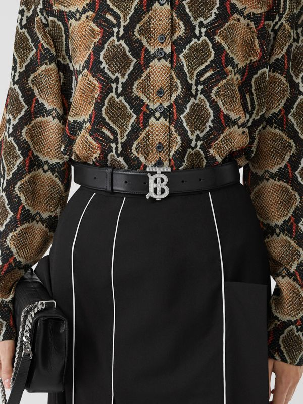 Crystal Monogram Motif Leather Belt in Black/palladium - Women | Burberry United States - cell image 2