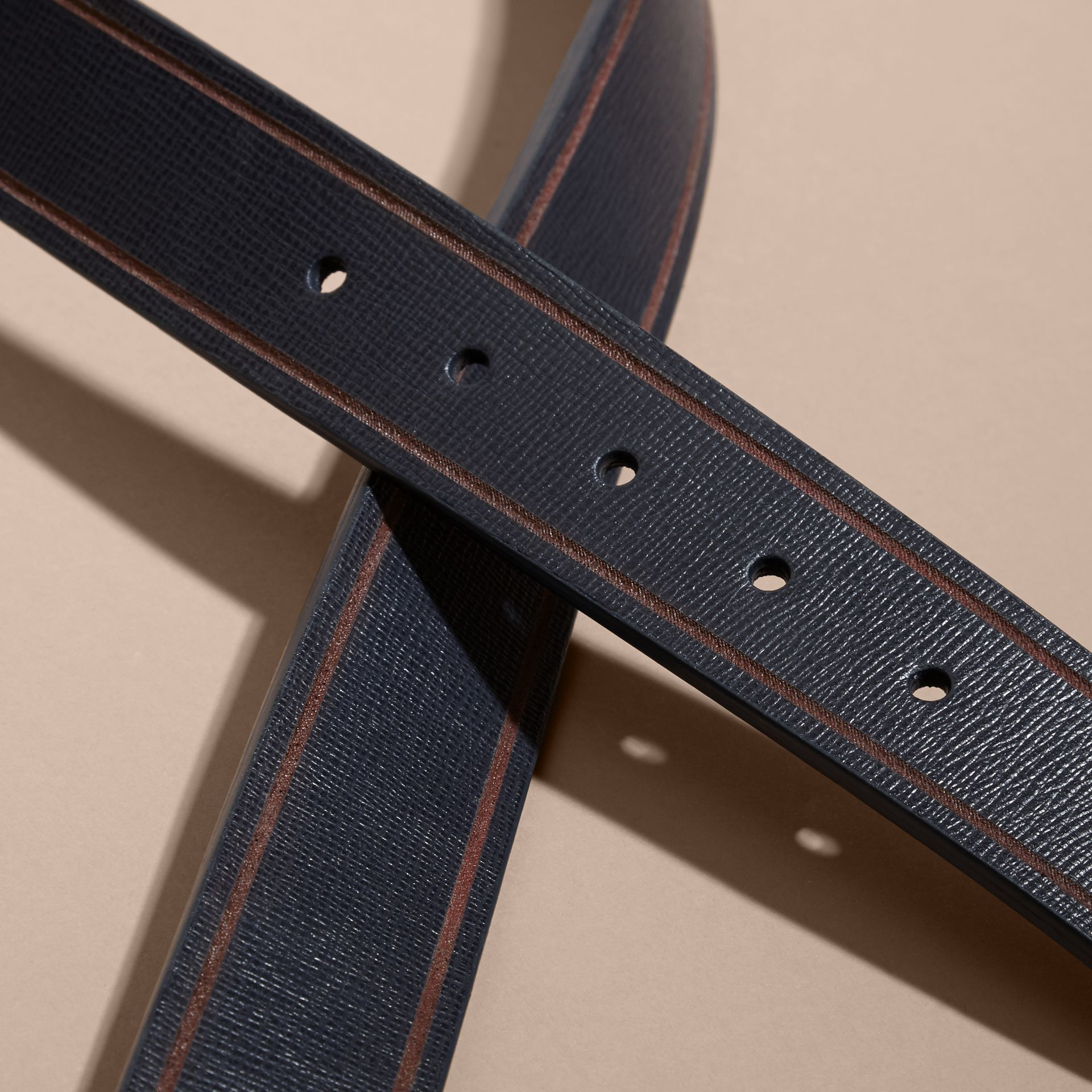 Reversible Border Detail London Leather Belt Dark Navy/black - gallery image 3