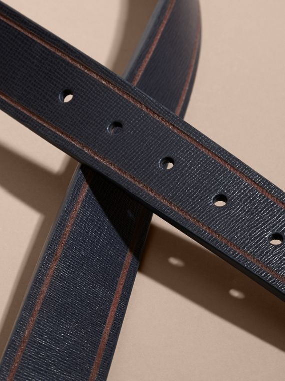 Dark navy/black Reversible Border Detail London Leather Belt Dark Navy/black - cell image 2