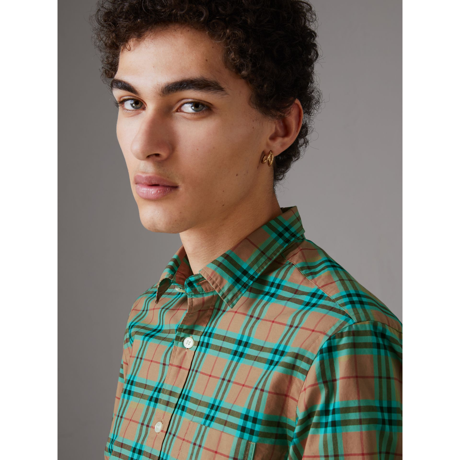 Check Cotton Shirt in Aqua Green - Men | Burberry Australia - gallery image 1