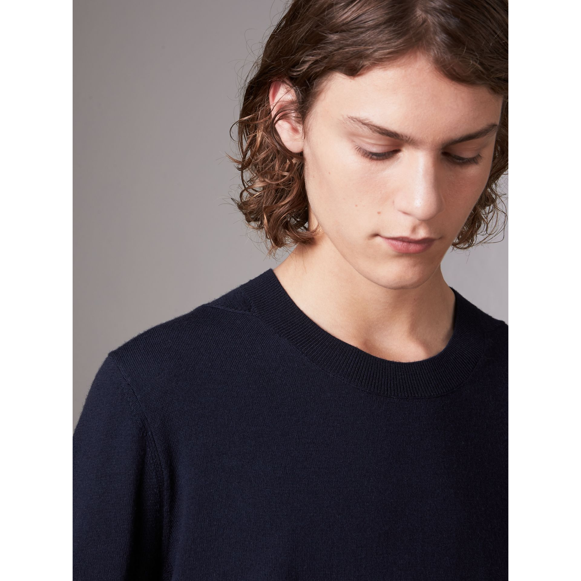 Check Detail Merino Wool Sweater in Navy - Men | Burberry - gallery image 1