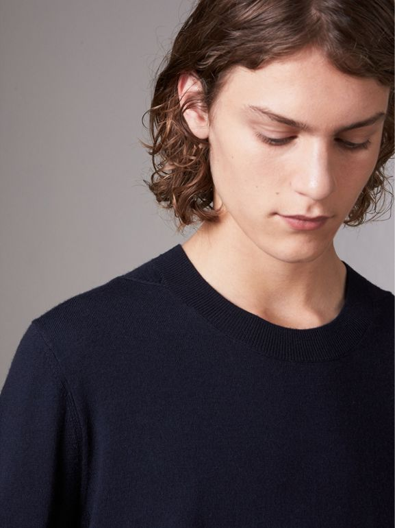 Check Detail Merino Wool Sweater in Navy - Men | Burberry Hong Kong - cell image 1