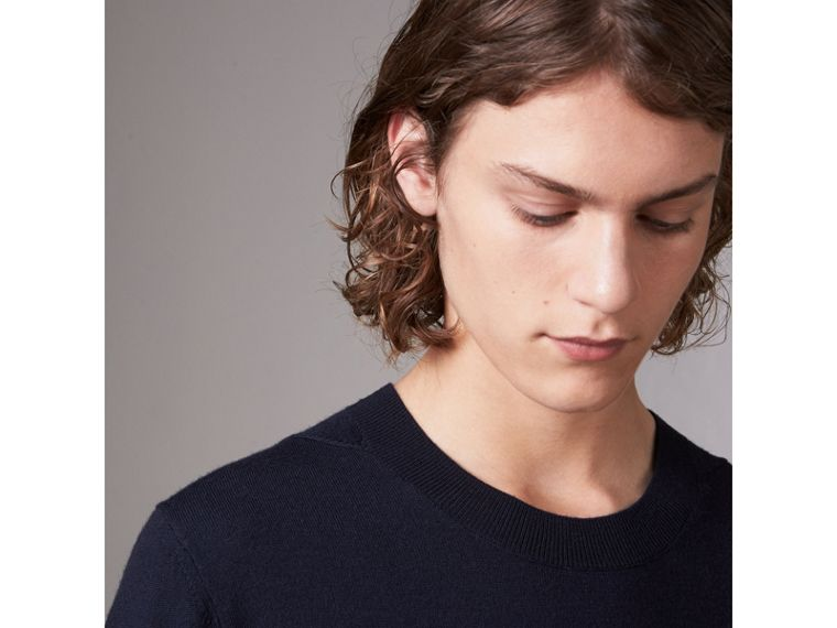 Check Detail Merino Wool Sweater in Navy - Men | Burberry - cell image 1