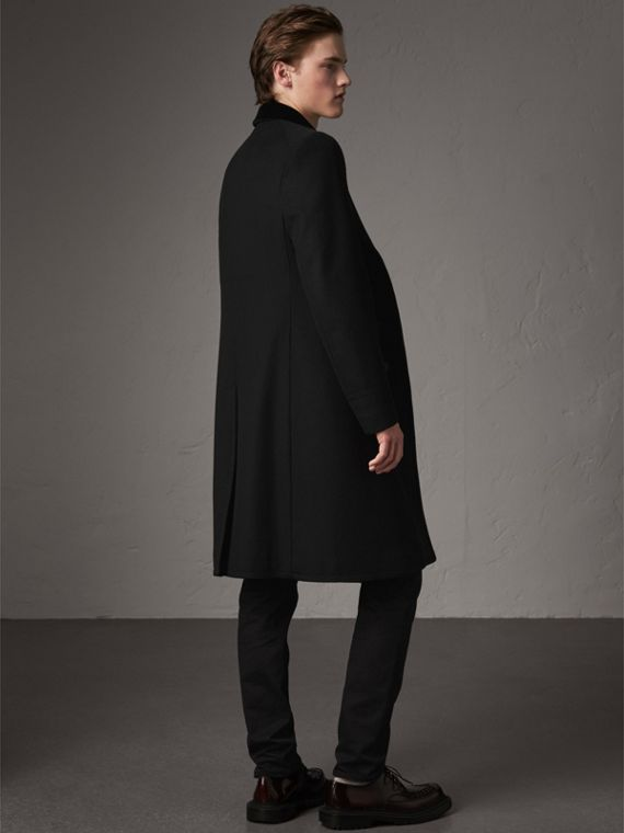 Velvet Collar Wool Cashmere Blend Riding Coat in Black - Men | Burberry - cell image 2