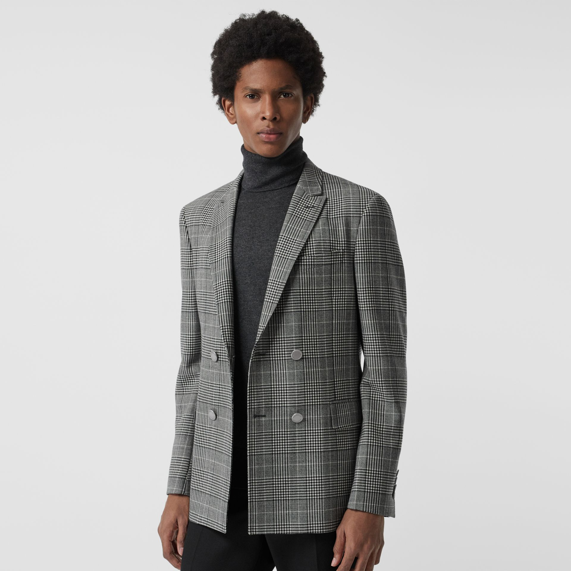 Slim Fit Check Wool Double-breasted Jacket in Black - Men | Burberry Singapore - gallery image 5