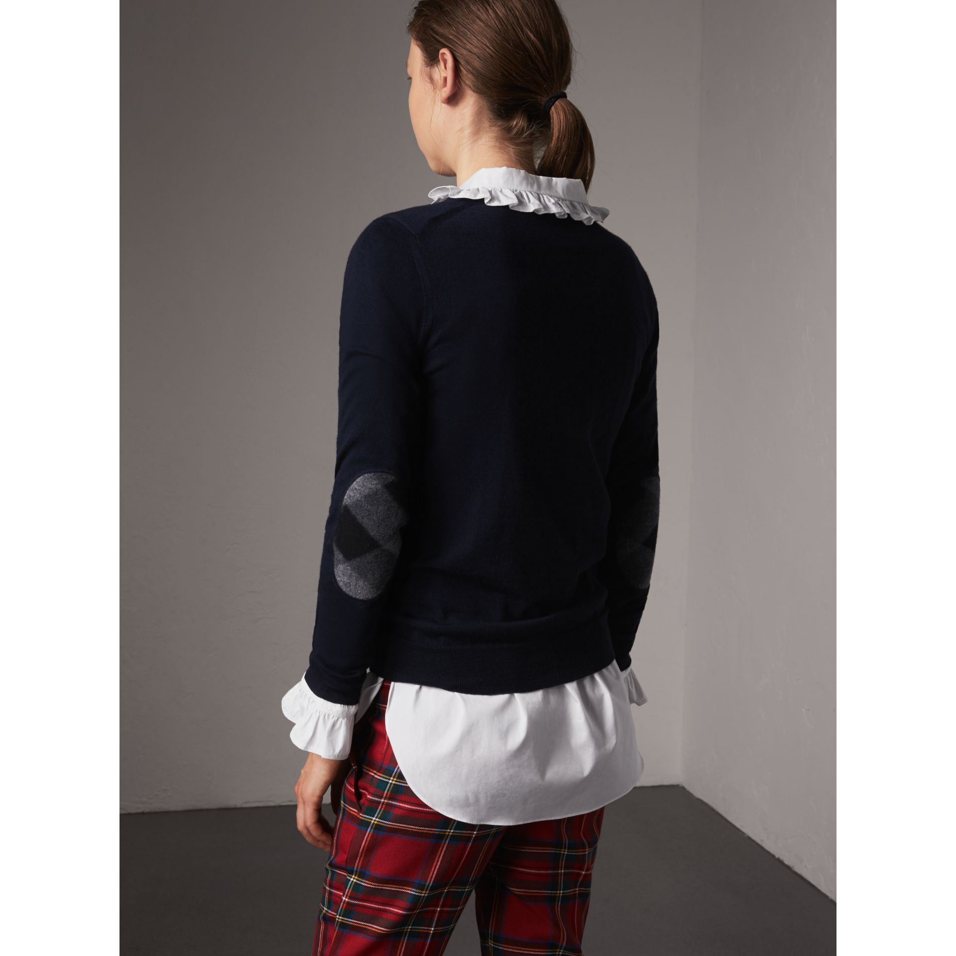Check Detail Merino Wool Sweater in Navy - Women | Burberry - gallery image 2