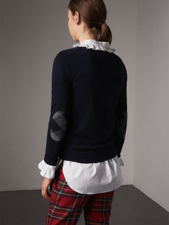 Check Detail Merino Wool Sweater in Navy - Women | Burberry - cell image 2