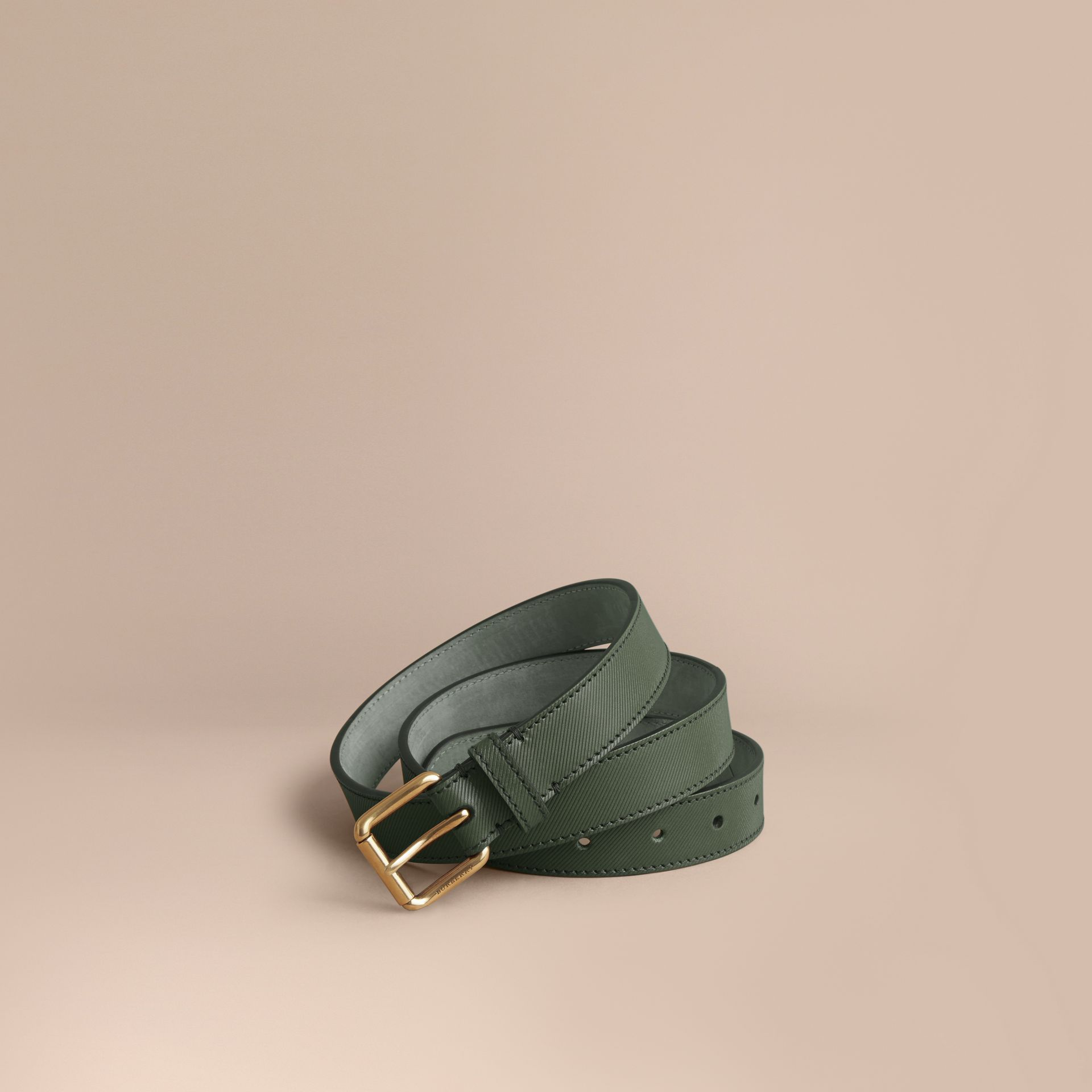 Trench Leather Belt in Dark Forest Green - Men | Burberry Canada - gallery image 1