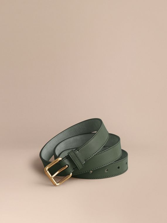 Trench Leather Belt in Dark Forest Green - Men | Burberry