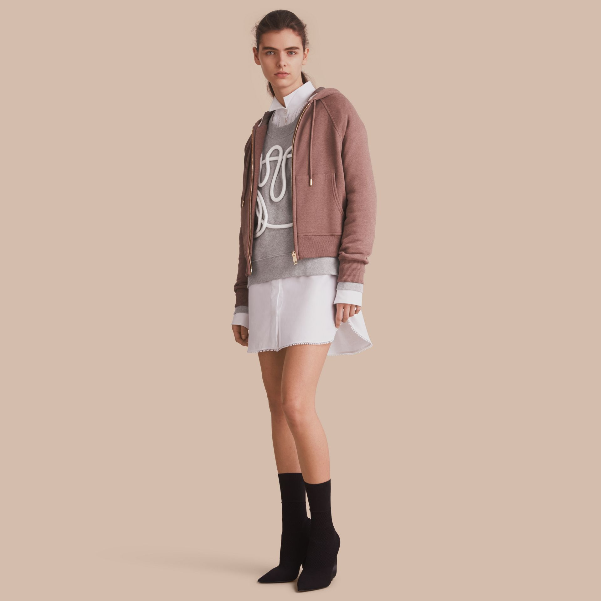 Hooded Cotton Blend Top in Antique Rose - gallery image 1