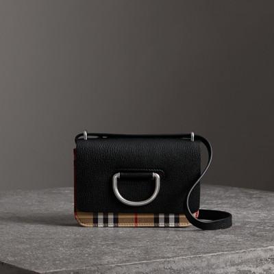 Umhängetasche Damen Tasche Schultertasche Messenger Leder D-Ring, Black