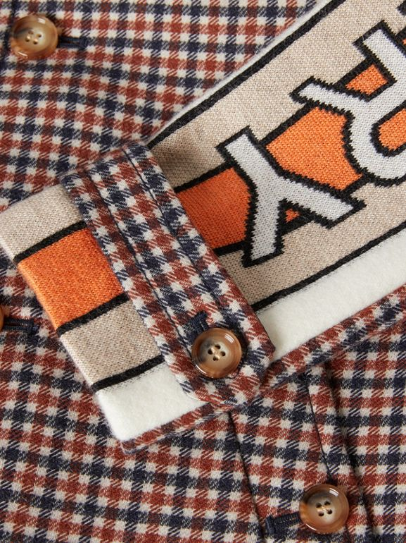 Logo Jacquard Check Wool Car Coat in Rust Brown | Burberry - cell image 1