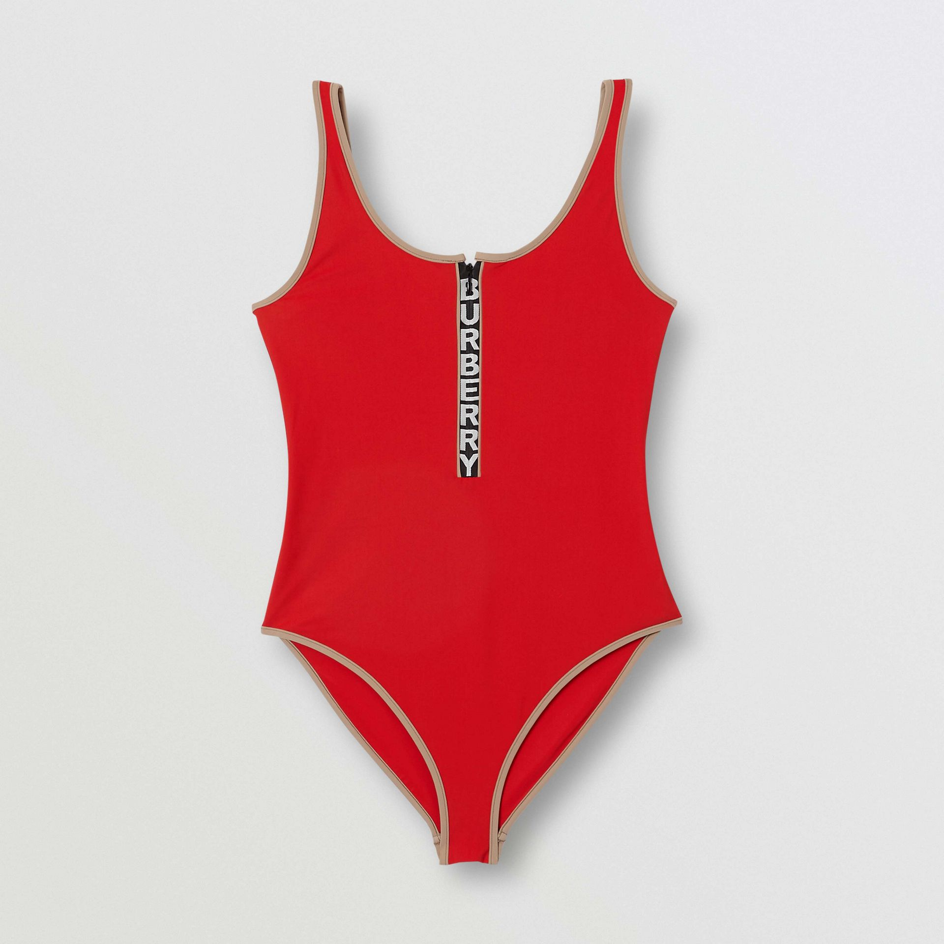Logo Detail Zip-front Swimsuit in Bright Red - Women | Burberry - gallery image 2