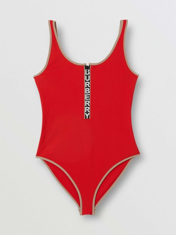 Logo Detail Zip-front Swimsuit in Bright Red