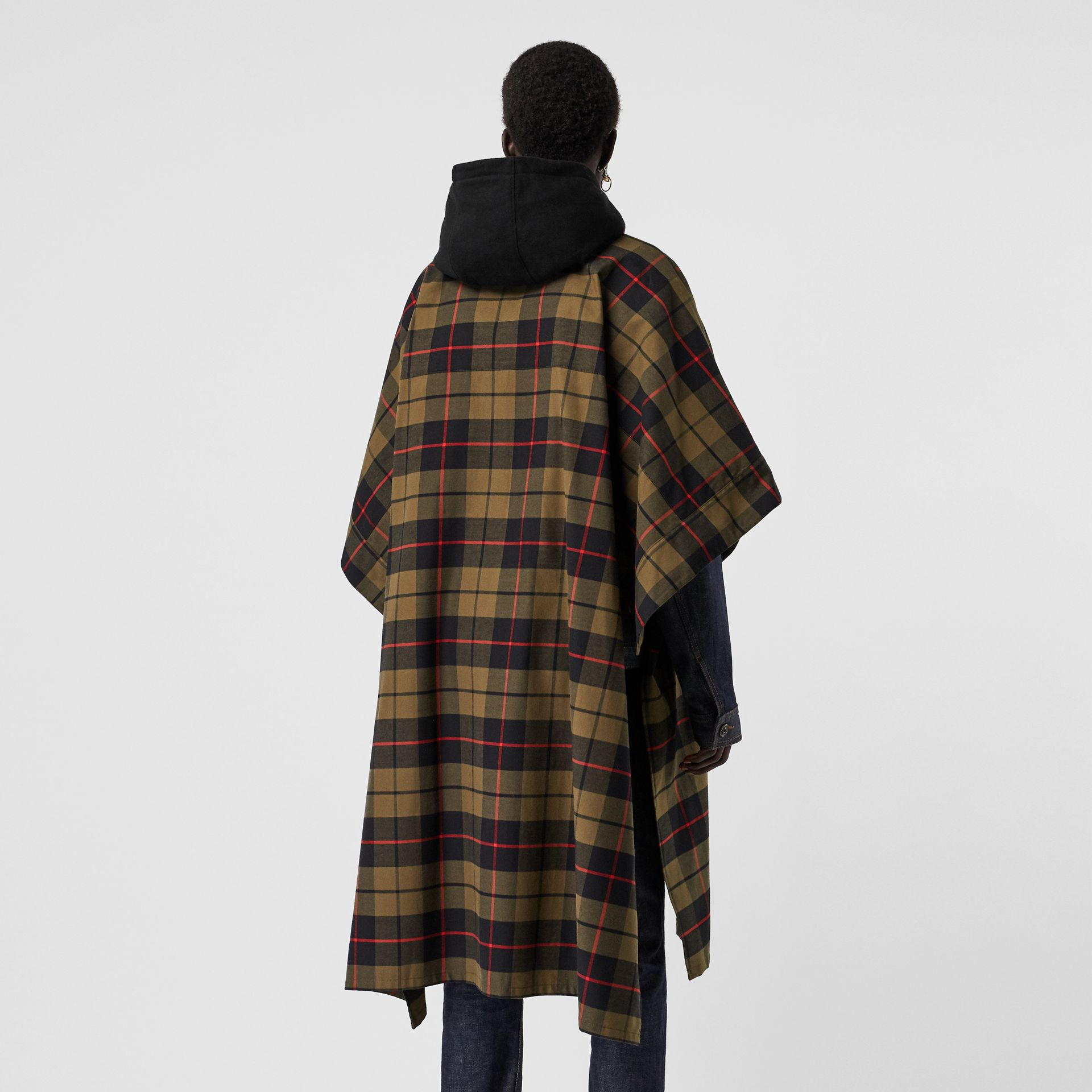 Monogram Motif Check Cotton Oversized Poncho in Military Olive | Burberry Canada - gallery image 6