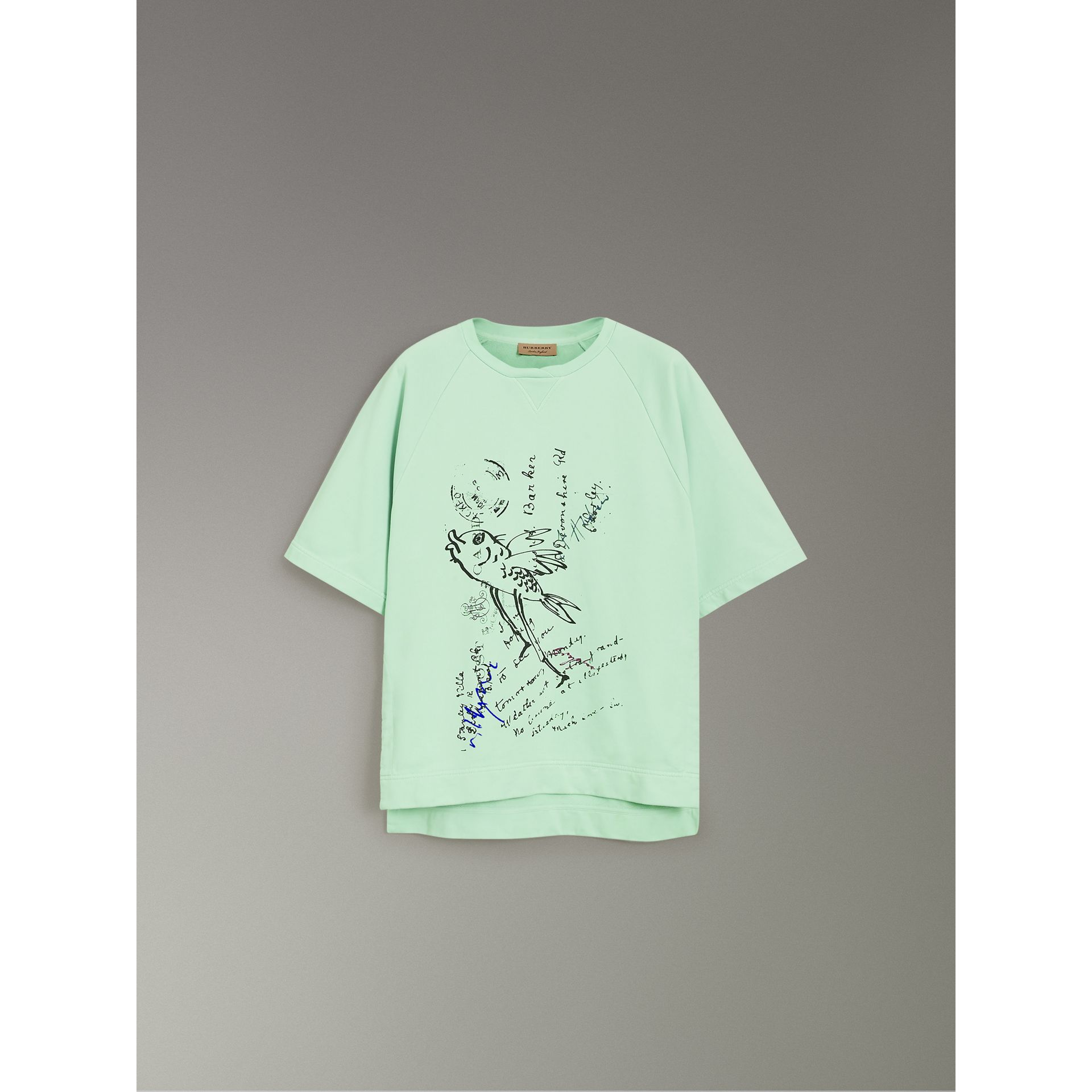 Postcard Print Cotton Jersey T-shirt in Mint Green - Women | Burberry - gallery image 3