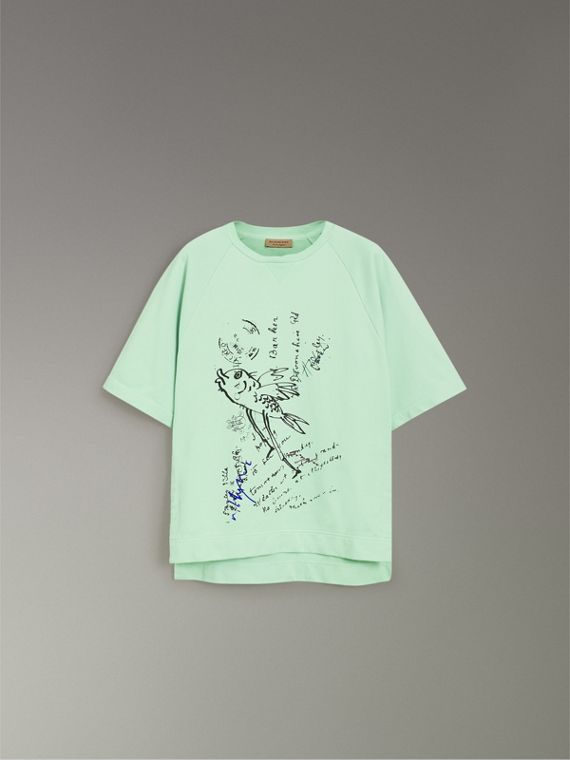 Postcard Print Cotton Jersey T-shirt in Mint Green - Women | Burberry - cell image 3