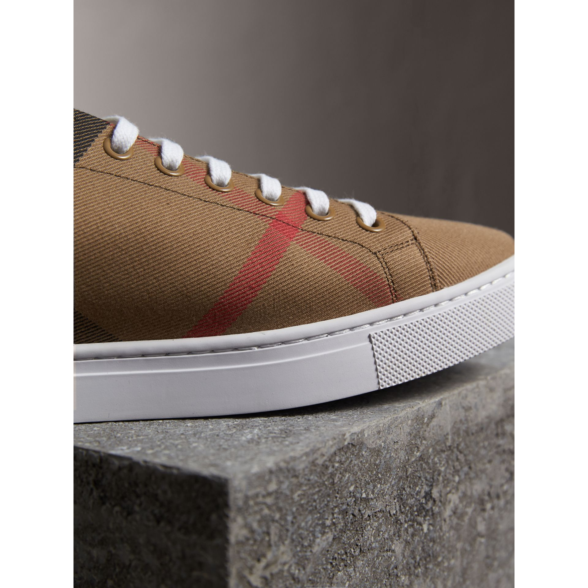 House Check Cotton and Leather Trainers in Check/black - Men | Burberry - gallery image 2