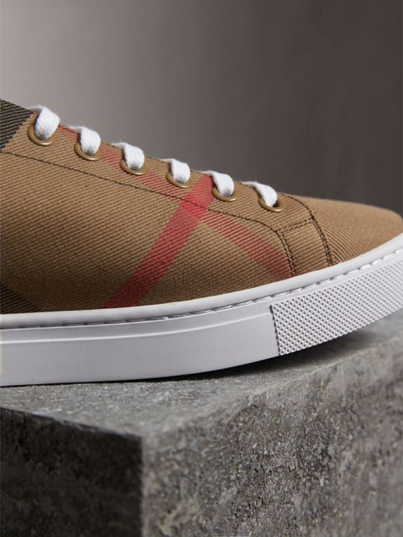 House Check and Leather Sneakers in Check/black - Men | Burberry Australia - cell image 1