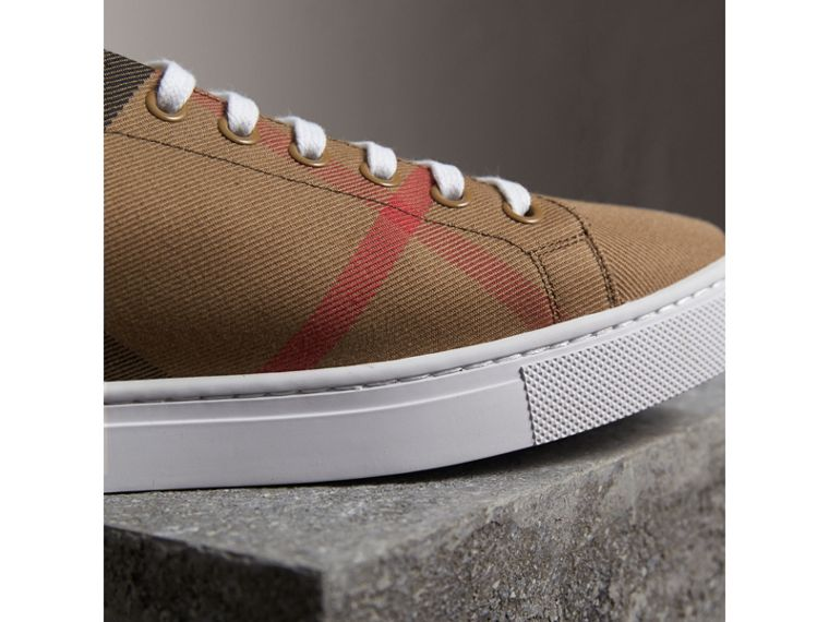 House Check Cotton and Leather Trainers in Check/black - Men | Burberry - cell image 1