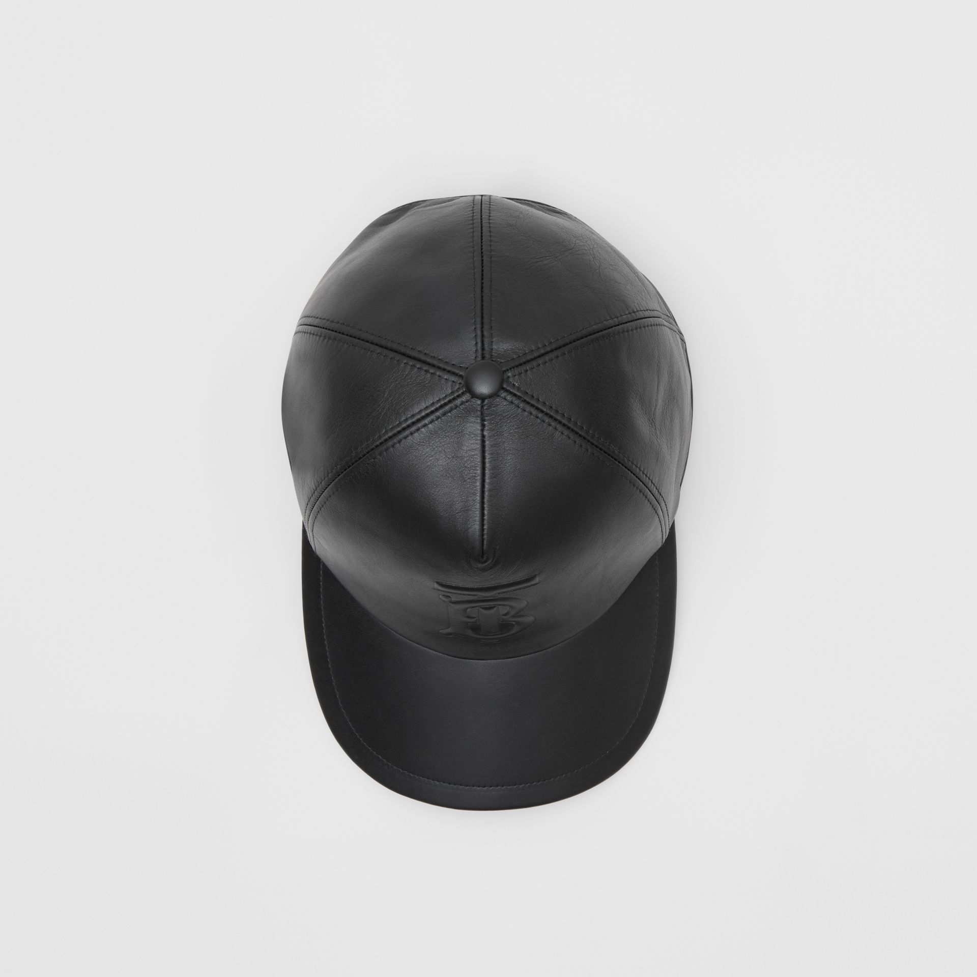 Monogram Motif Leather Baseball Cap in Black | Burberry Hong Kong S.A.R - gallery image 0