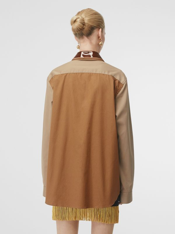 Double Collar Montage Print Cotton Jacket in Caramel - Women | Burberry Australia - cell image 2