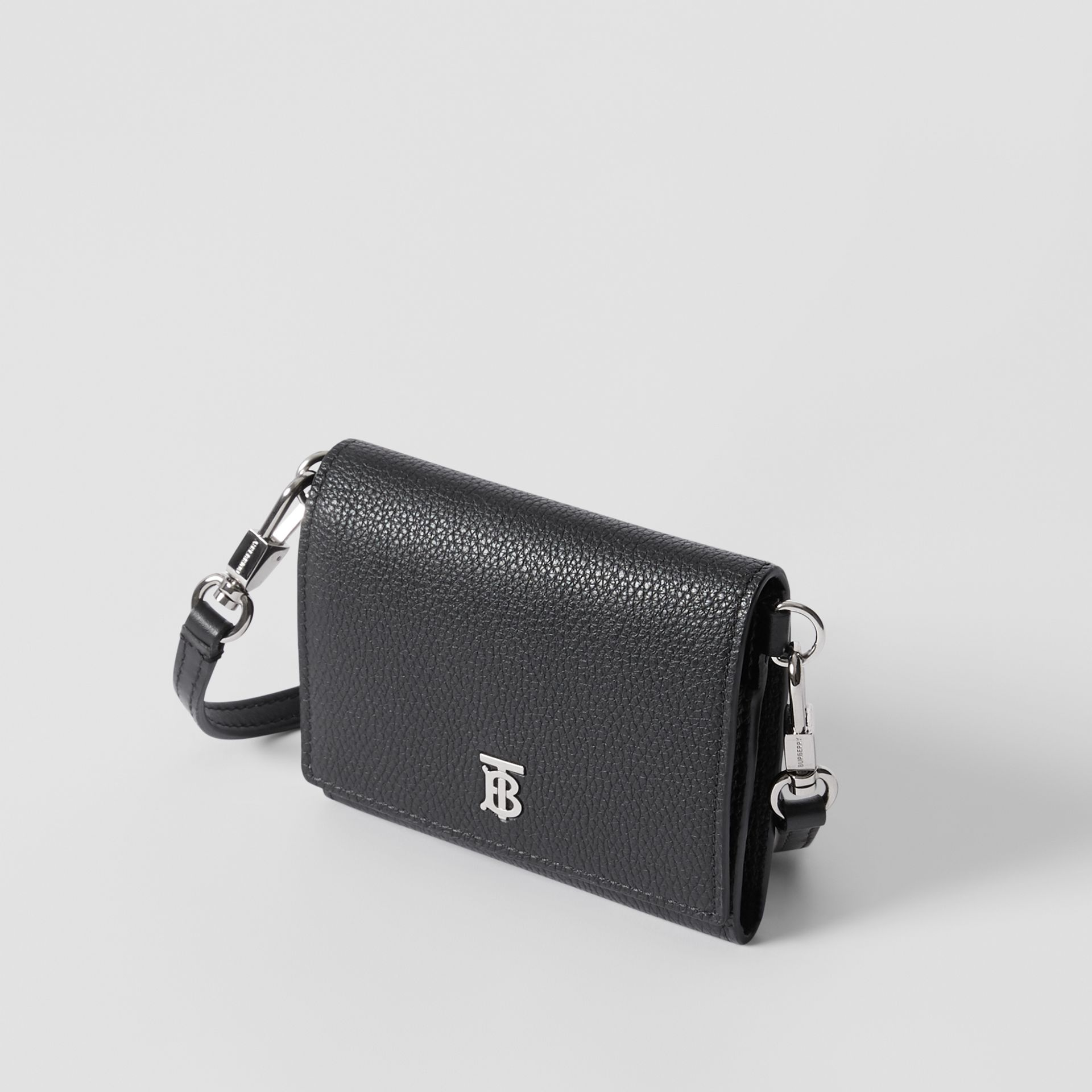 Small Grainy Leather Wallet with Detachable Strap in Black | Burberry United States - gallery image 2