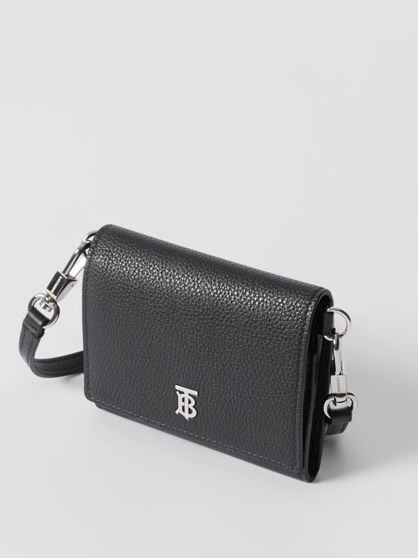 Small Grainy Leather Wallet with Detachable Strap in Black | Burberry United States - cell image 2