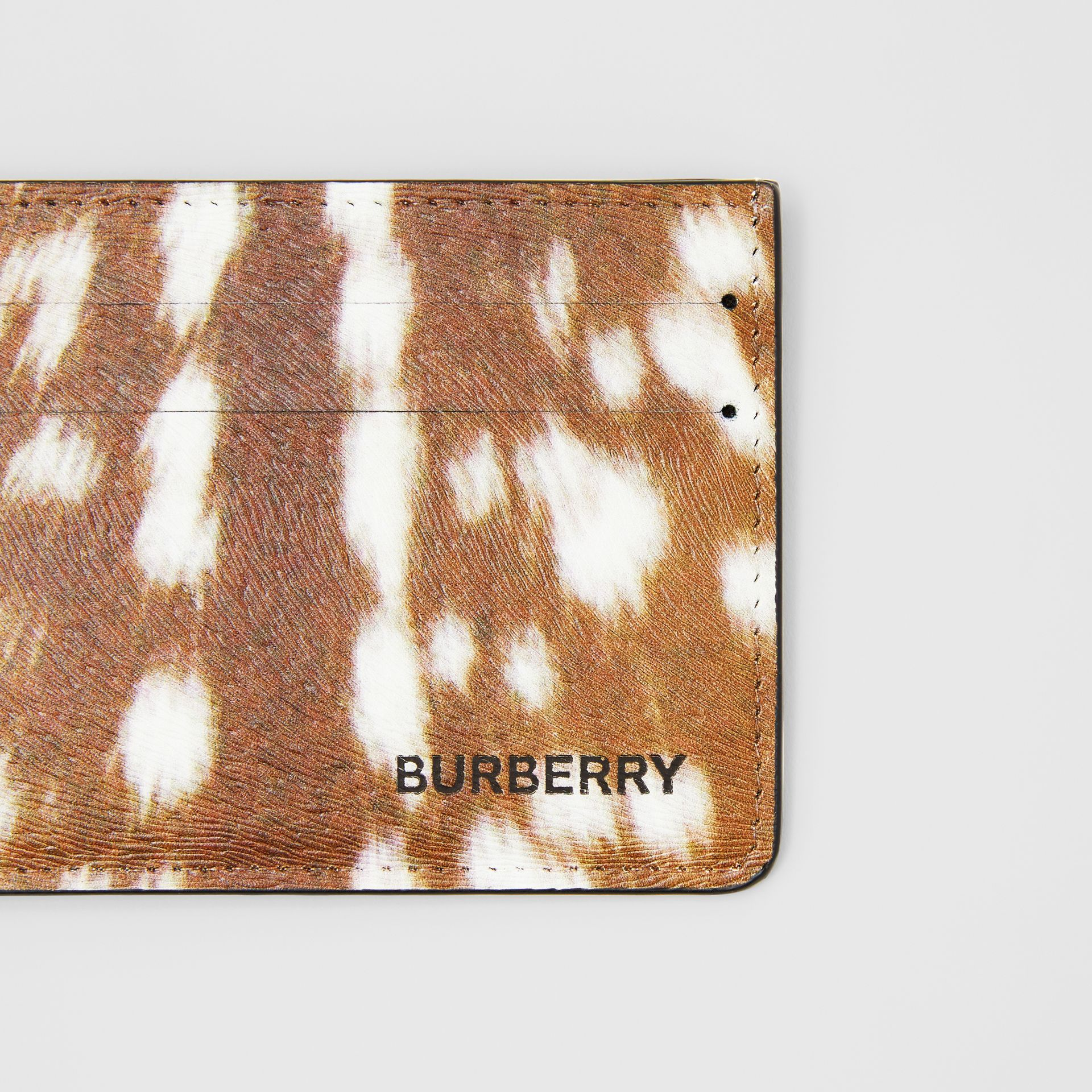 Deer Print Leather Card Case in Tan/white - Men | Burberry United States - gallery image 1
