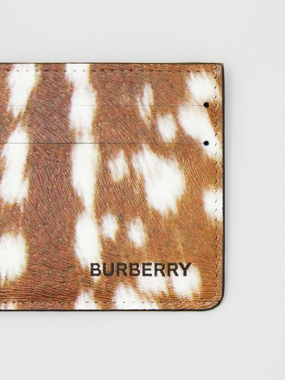 Deer Print Leather Card Case in Tan/white - Men | Burberry - cell image 1