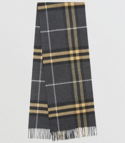 021511a254dc The Classic Cashmere Scarf in Check in Dark Pewter Grey