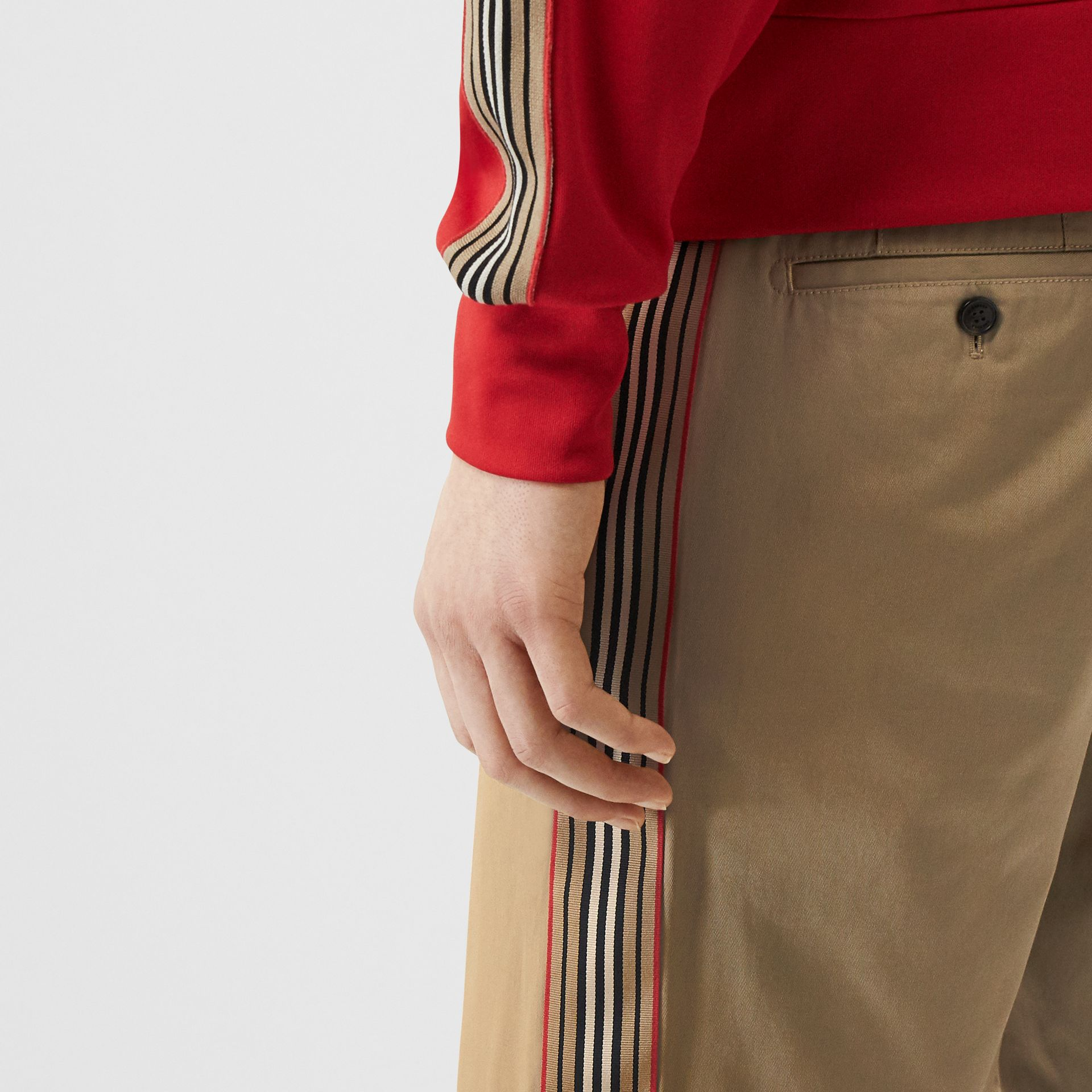 Icon Stripe Detail Cotton Twill Chino Shorts in Honey - Men | Burberry - gallery image 1