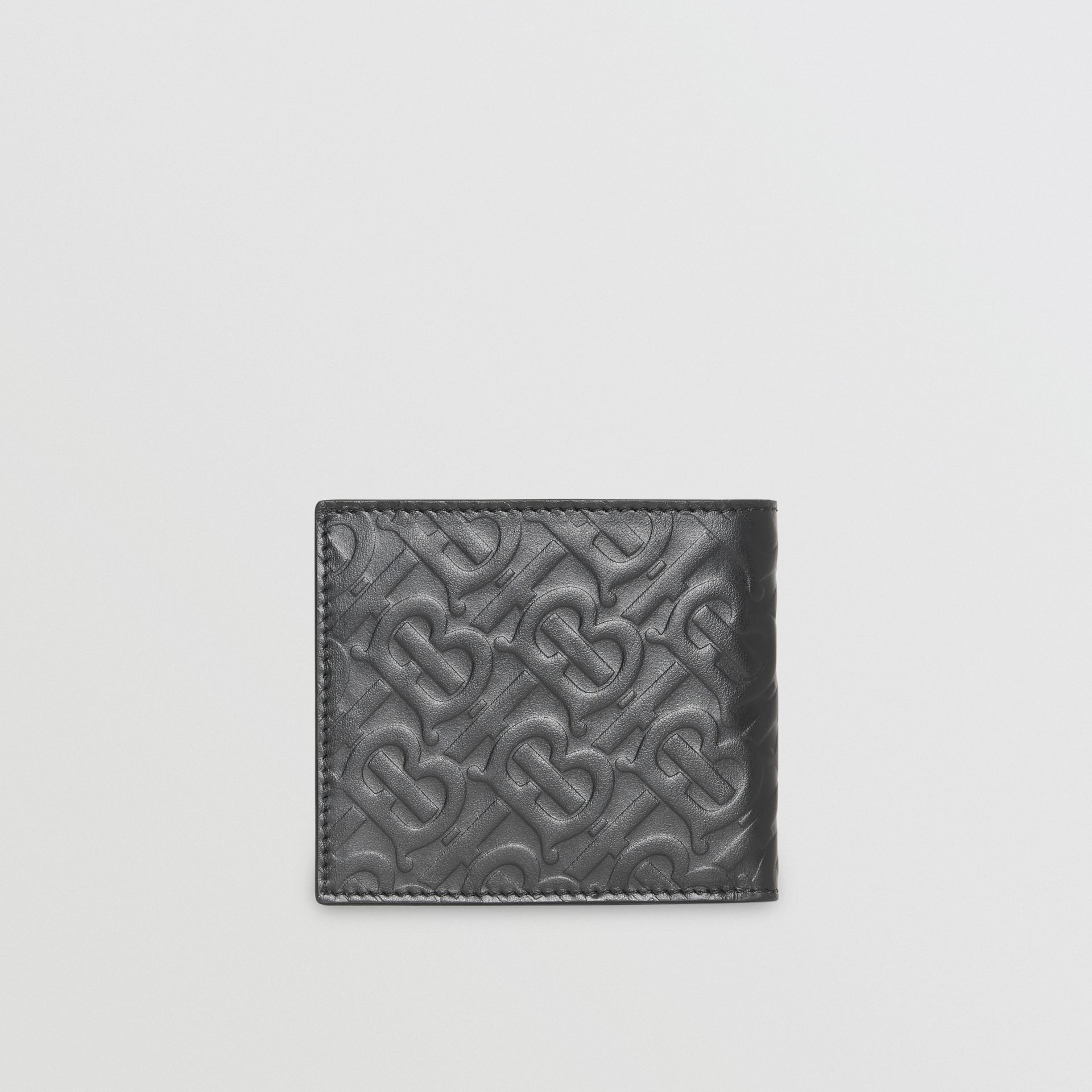 Monogram Leather International Bifold Wallet in Black - Men | Burberry Australia - gallery image 2