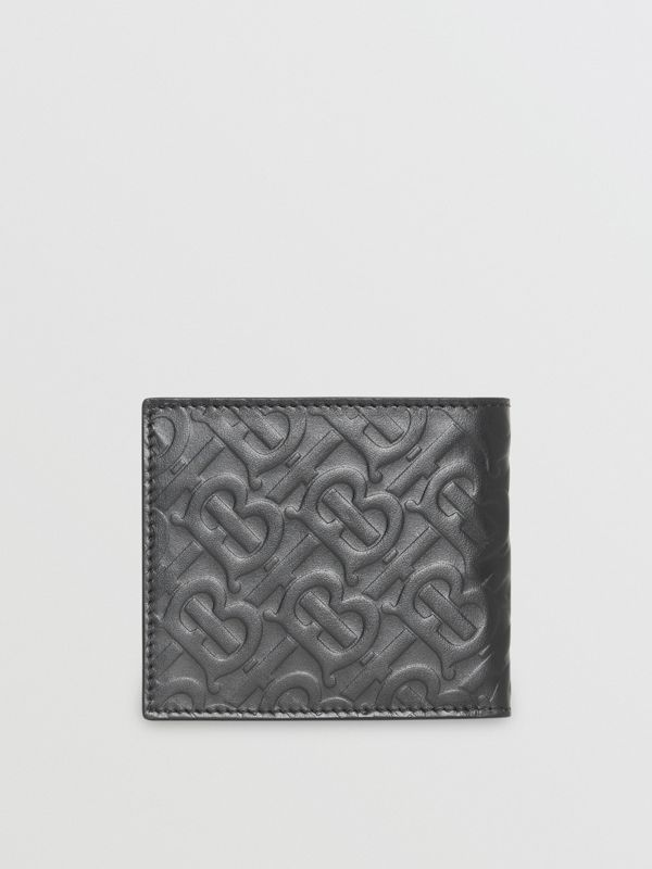 Monogram Leather International Bifold Wallet in Black | Burberry United States - cell image 2