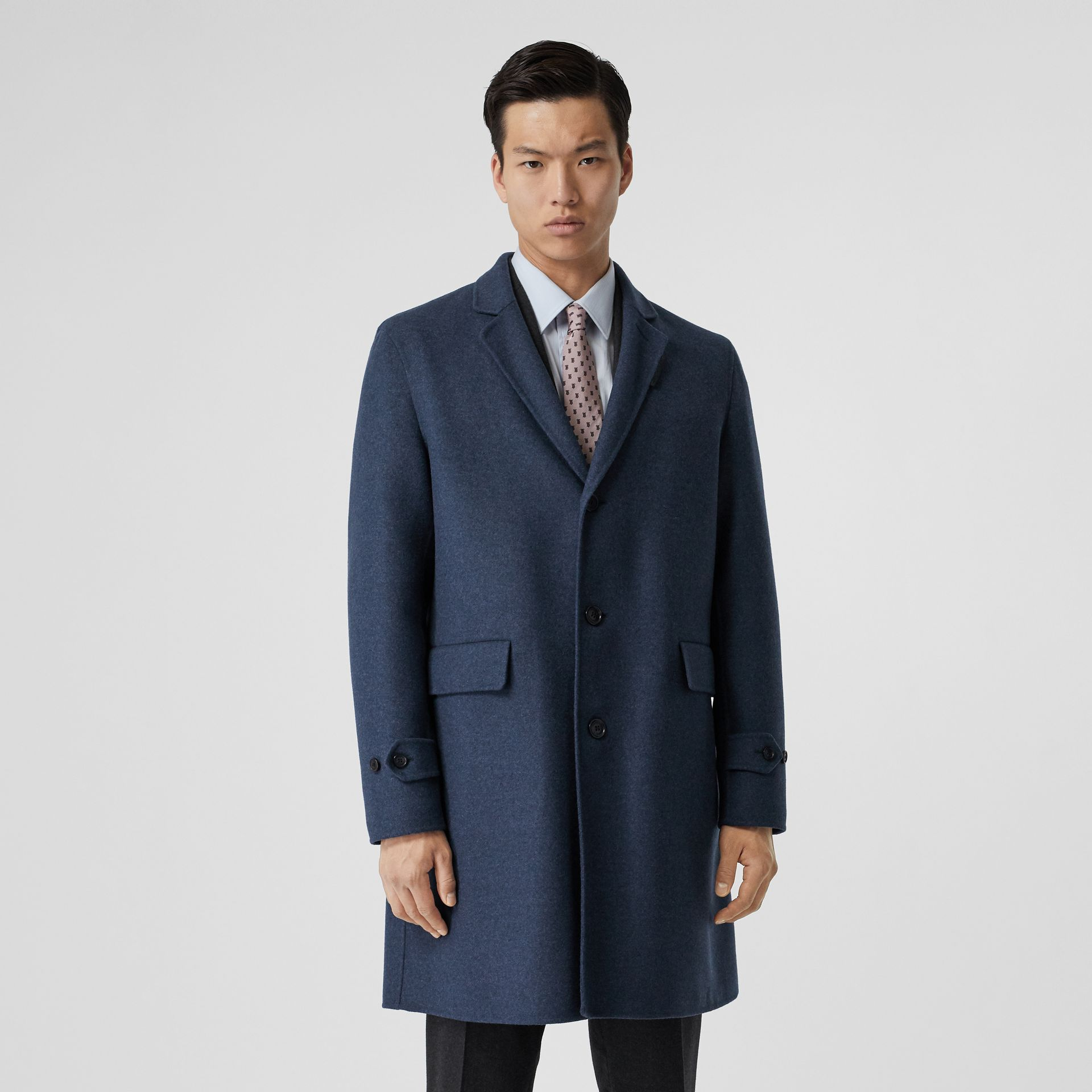 Wool Cashmere Lab Coat in Steel Blue Melange - Men | Burberry United Kingdom - gallery image 7