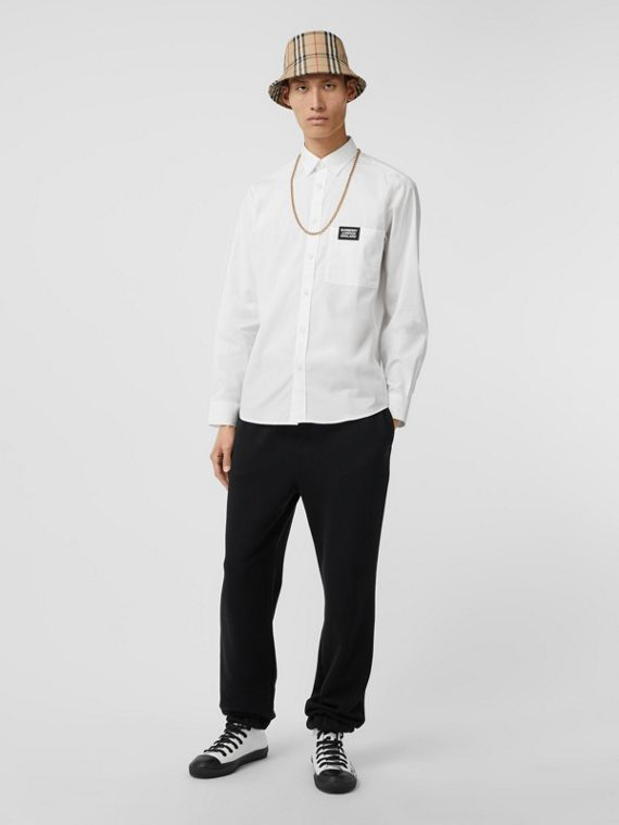 Logo Detail Stretch Cotton Poplin Shirt in White