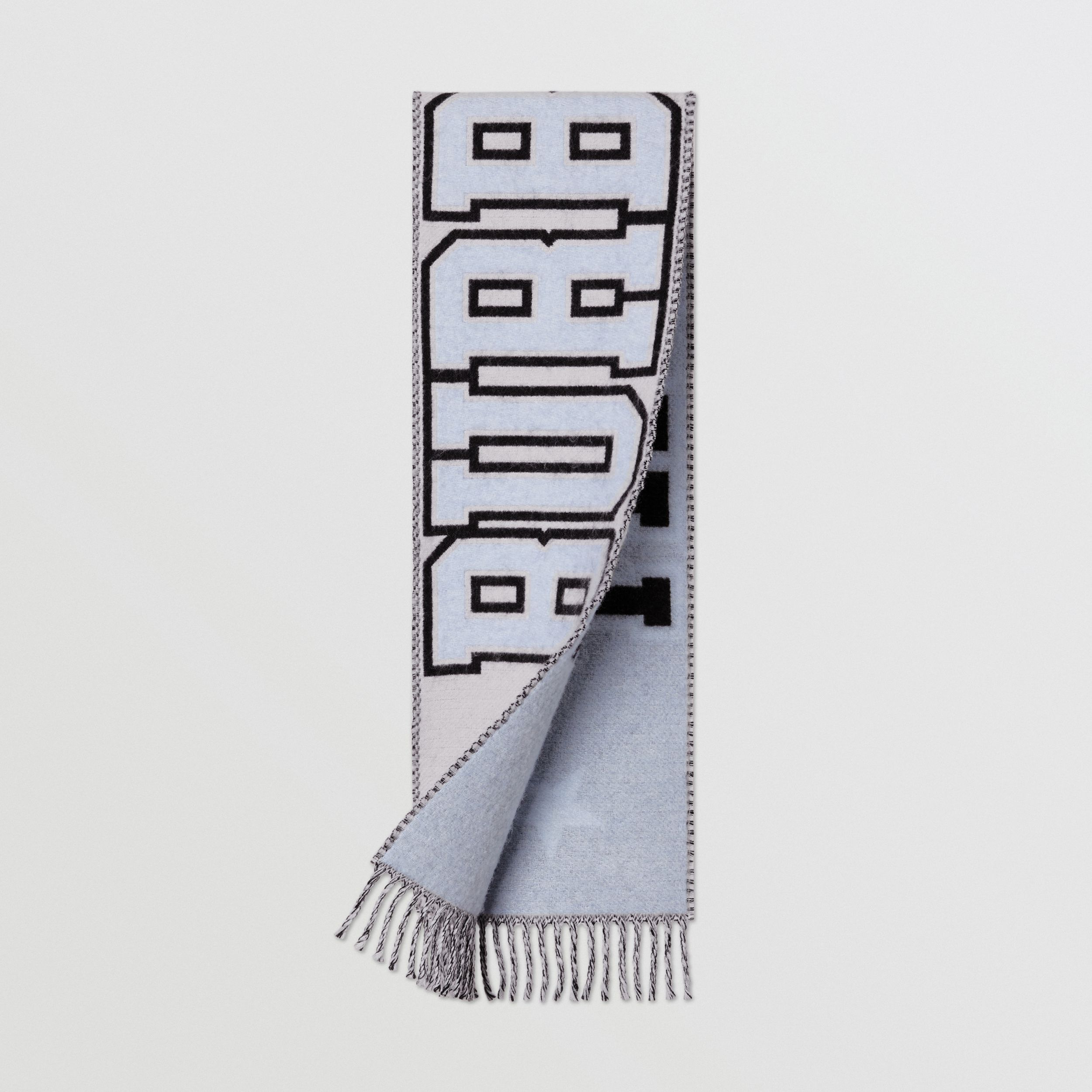 Logo Merino Wool Blend Jacquard Scarf in White - Children | Burberry - 1