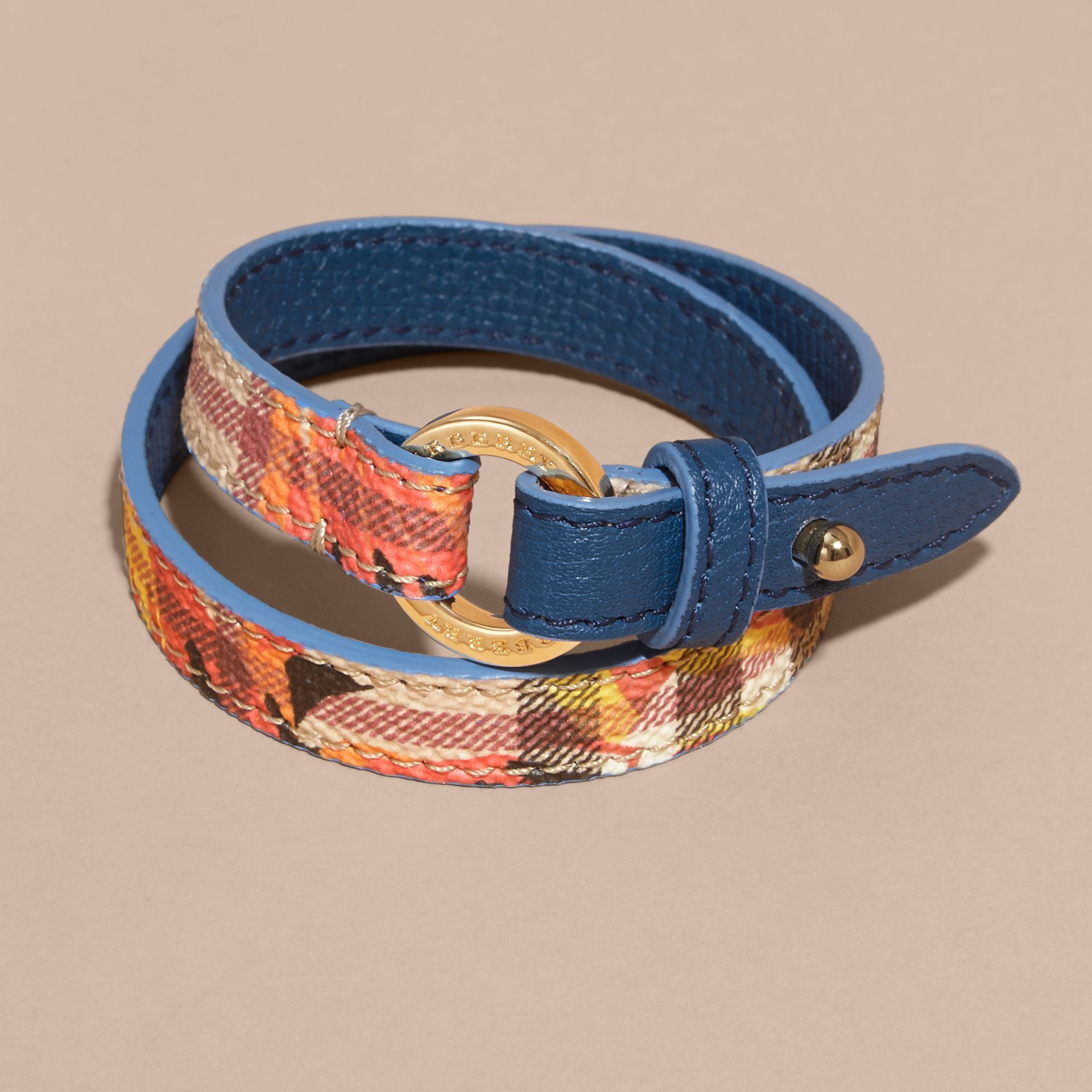Peony Rose Print Haymarket Check Wrap Bracelet in Mineral Blue/vibrant Orange - gallery image 3