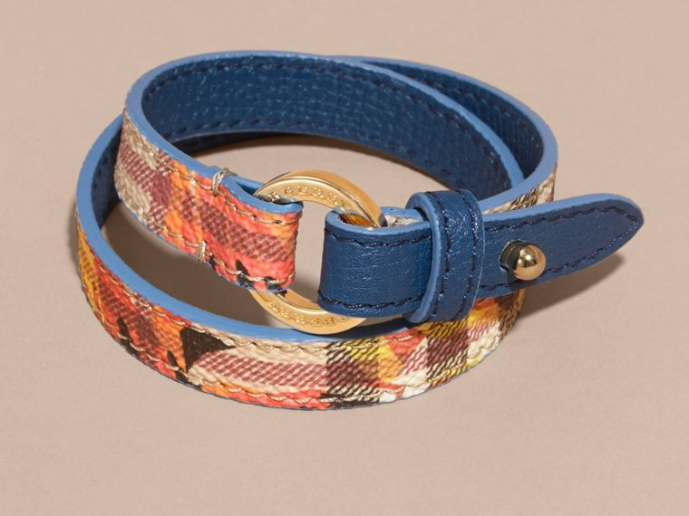 Peony Rose Print Haymarket Check Wrap Bracelet in Mineral Blue/vibrant Orange - cell image 2